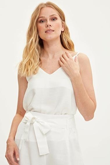 DeFacto İnce Askılı Bluz Beyaz
